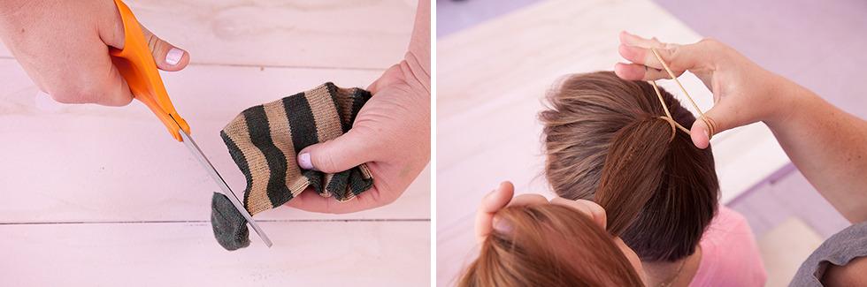 Punđa uz pomoć čarape - prvi korak